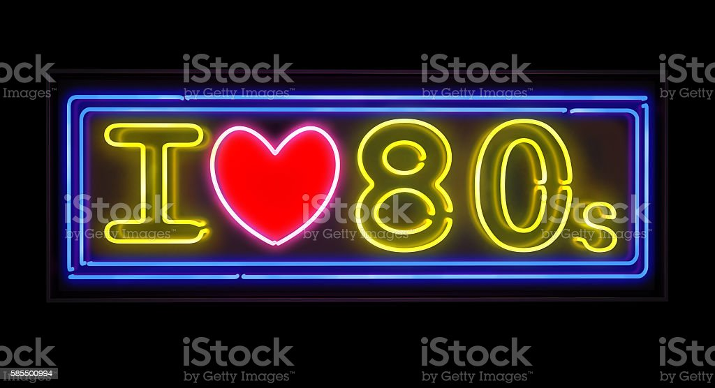 I love the 80s neon sign stock photo