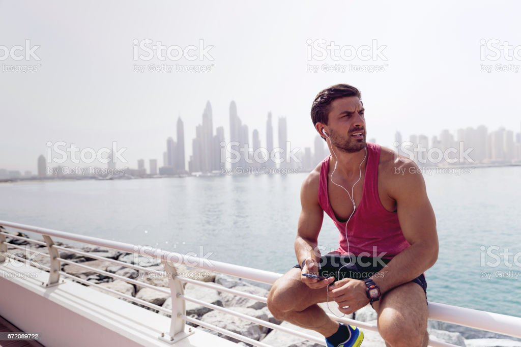 Love the summer vibes! Next stop, sail after the jogging! stock photo