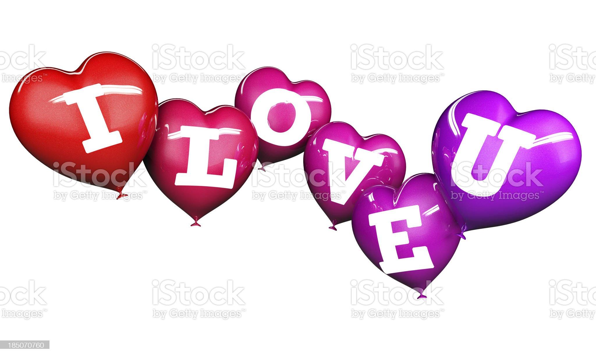 I Love U heart shaped balloons (XXL) royalty-free stock photo