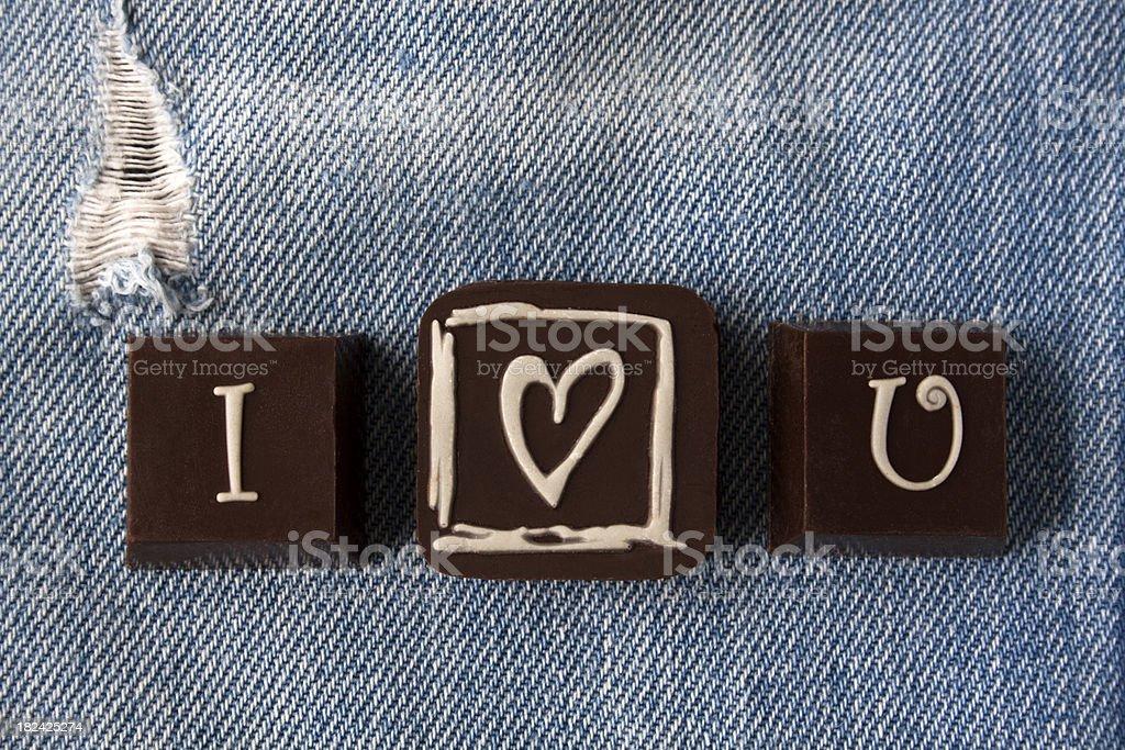 'I Love U' on Denim. stock photo