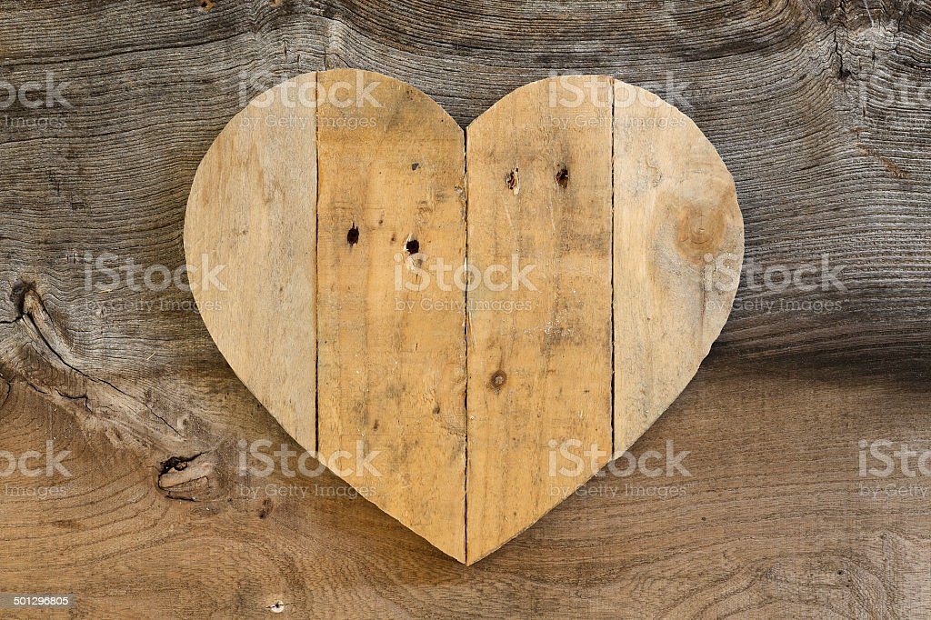 Love Valentines wooden heart on old Elm background stock photo