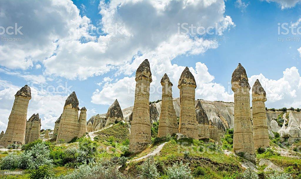 Love valley at Cappadocia, Anatolia, Turkey. Volcanic mountains. stock photo