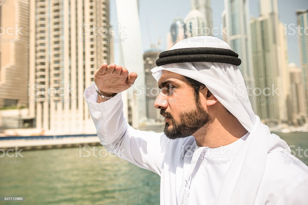 Love, Victory, Peace typical greeting in UAE stock photo