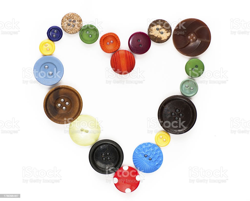 Love vintage - old buttons in a heart shape royalty-free stock photo