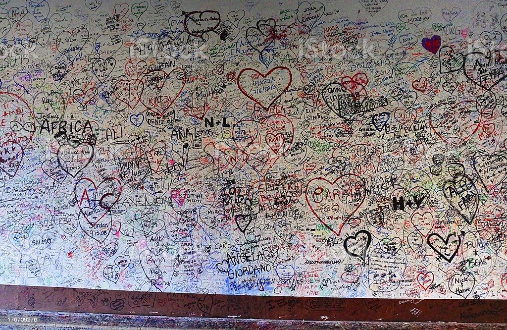 love wall of Giulietta house in Verona Italy royalty-free stock photo