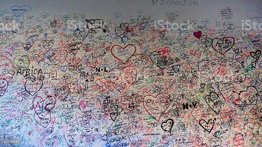 love wall of Giulietta house in Verona Italy stock photo