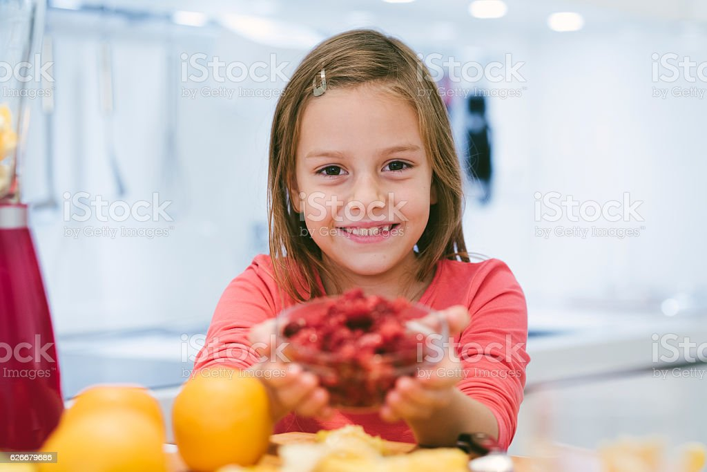 I love with raspberries stock photo