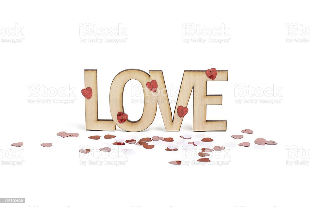 Love Wooden sign with  hearts royalty-free stock photo