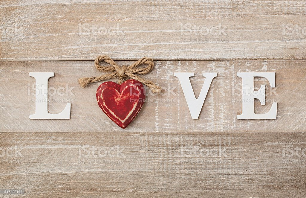 'Love' wooden text stock photo