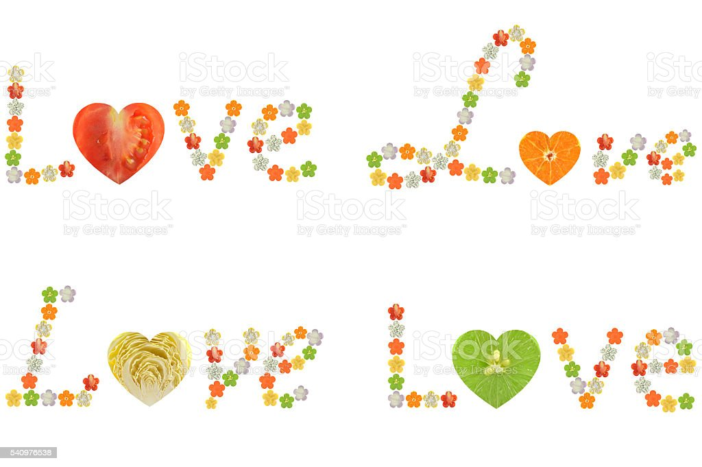Love word from fruit and vegetable stock photo