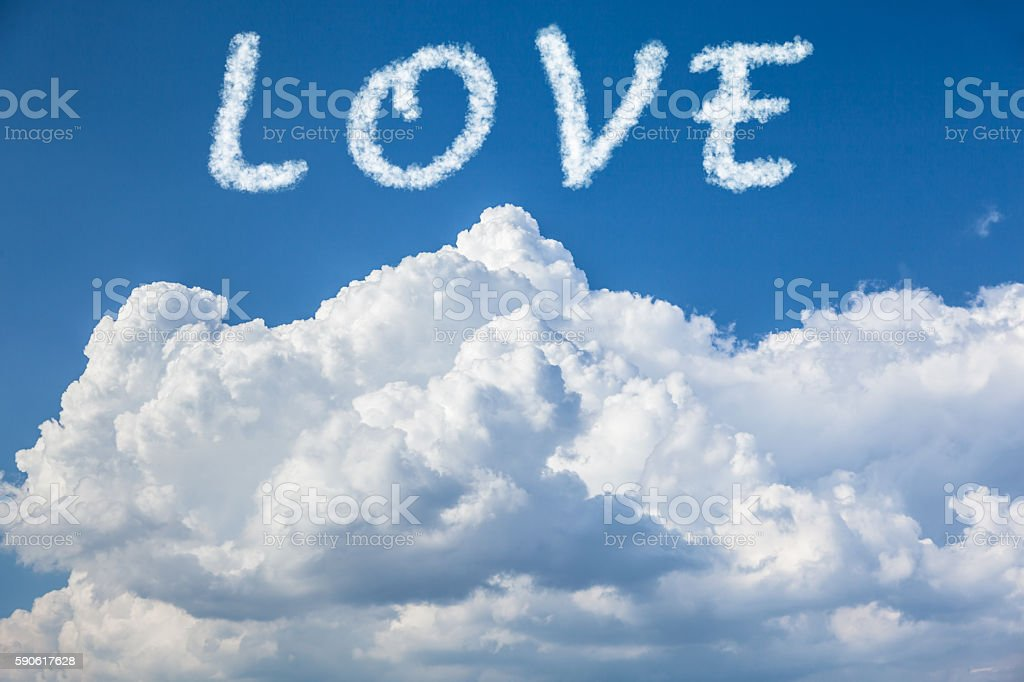 Love word is made up of clouds. stock photo