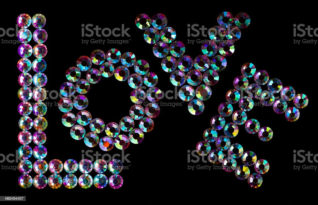 'Love' word made by real crystals on black royalty-free stock photo