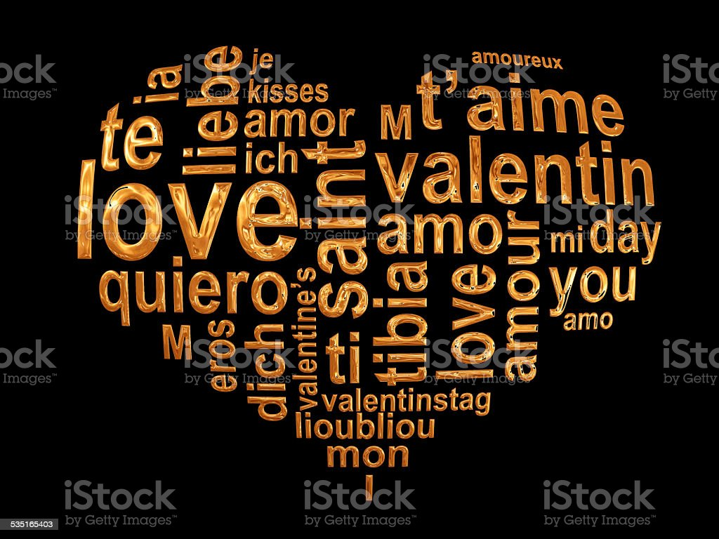 Love words in a golden heart isolated on black background stock photo