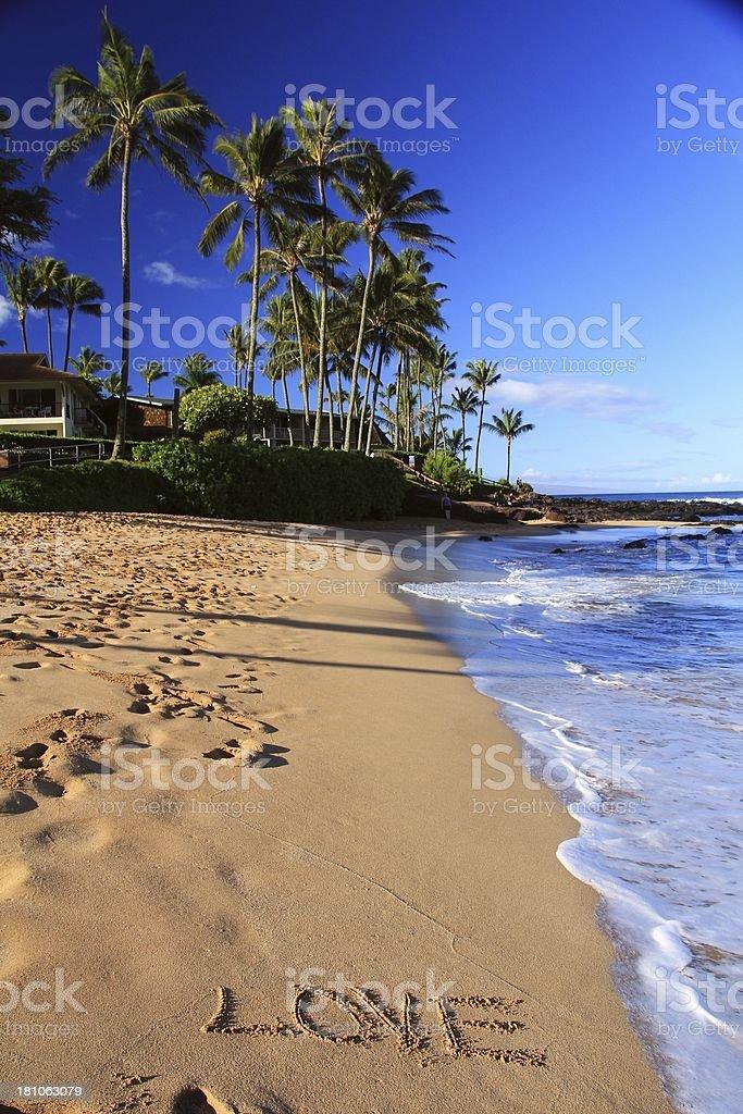Love written on Maui Hawaii resort hotel beach sand royalty-free stock photo