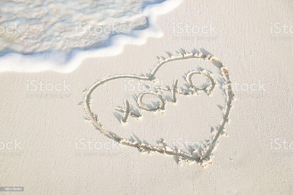 Love You all Summer Long on the Sandy Beach stock photo