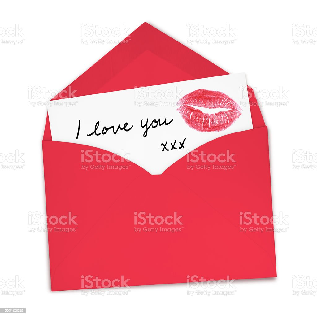 I love you card (with path) stock photo