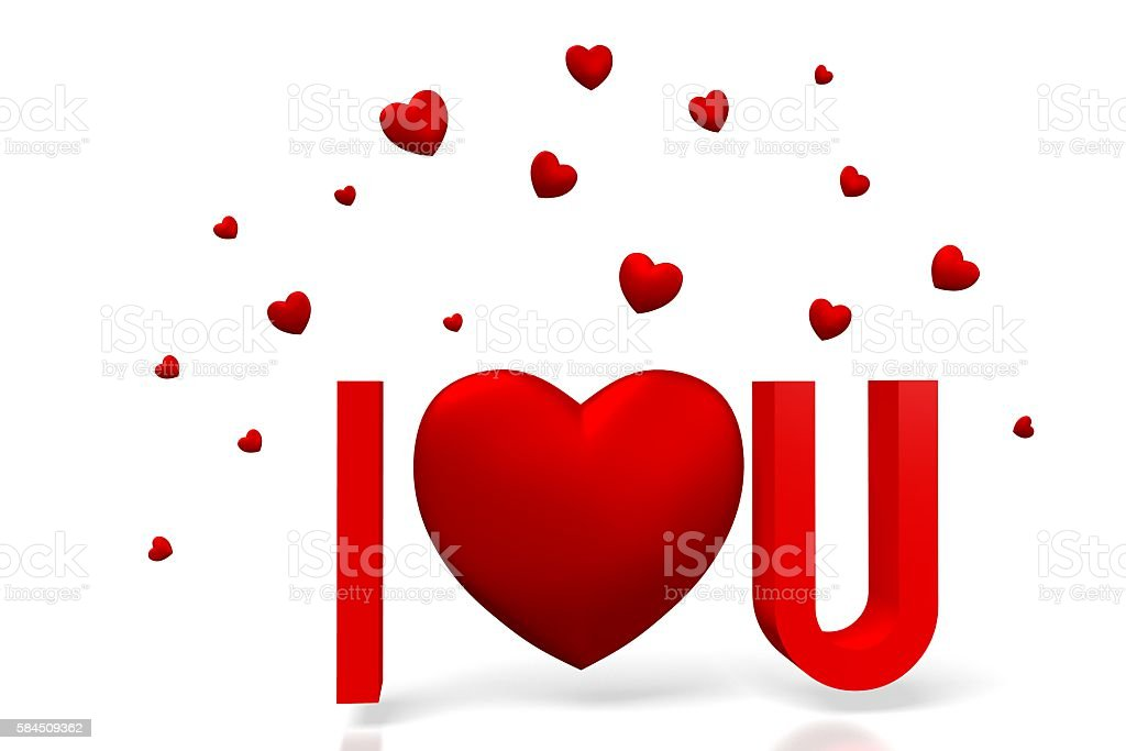 3D I love you card stock photo
