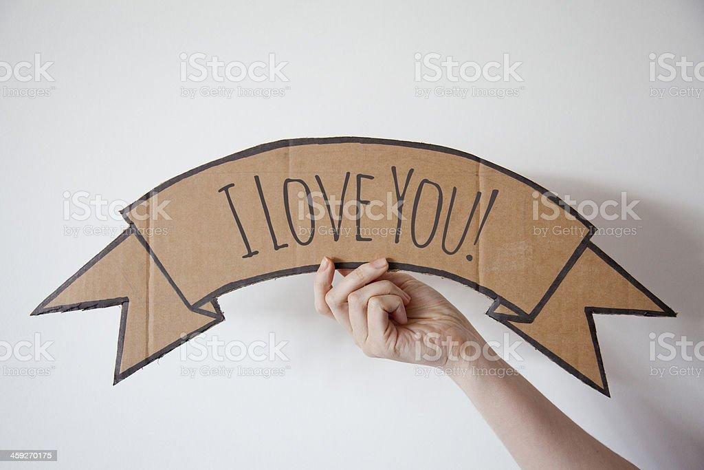 I love you cardboard banner stock photo