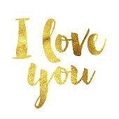 I love you gold foil message
