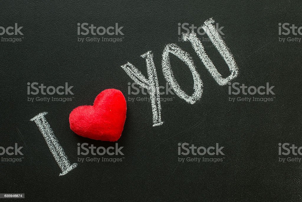 I Love You. Handwritten message on a chalkboard stock photo