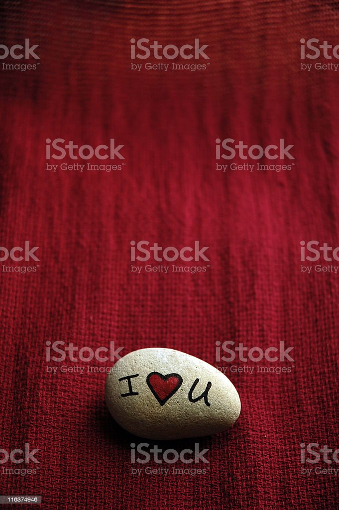 I Love You Heart Stone Vertical Red royalty-free stock photo