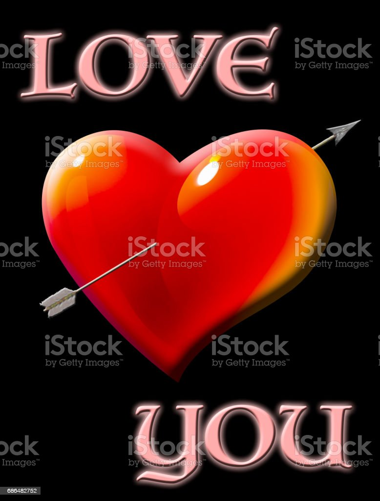 Love you, heart with arrow isolated against the black background vector art illustration