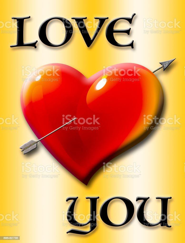 Love you, heart with arrow isolated against the gold background vector art illustration