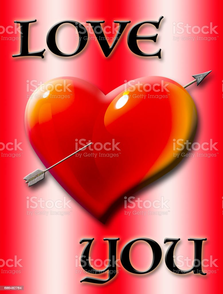 Love you, heart with arrow isolated against the red background vector art illustration