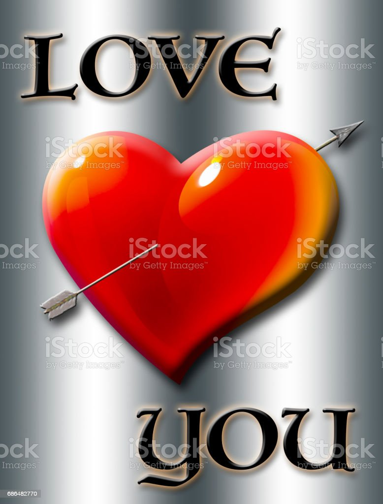 Love you, heart with arrow isolated against the silver background vector art illustration