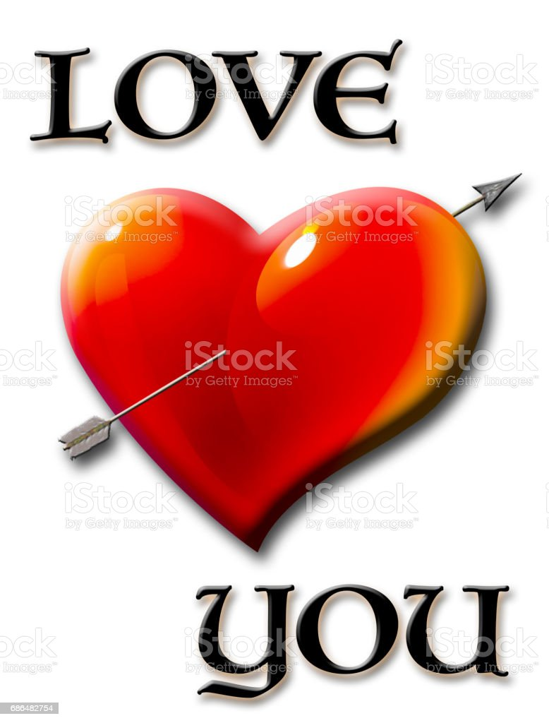 Love you, heart with arrow isolated against the white background vector art illustration