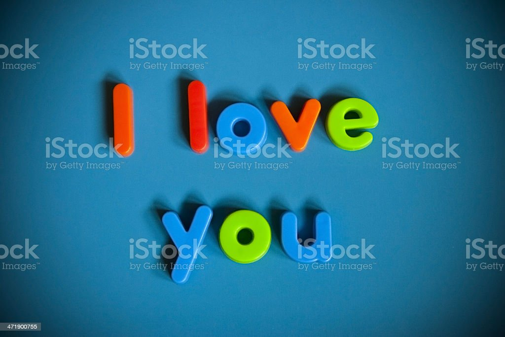 I love you in magnet letters stock photo