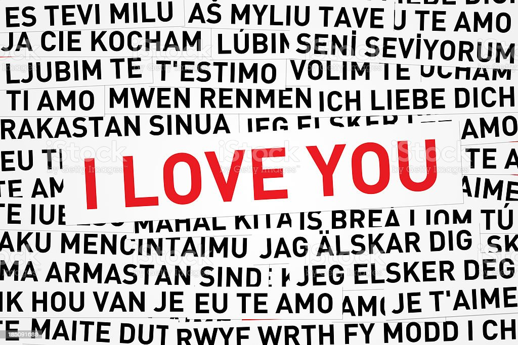 I love you in red print and different languages stock photo