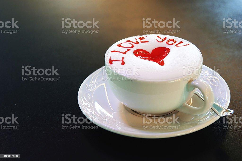 Я Люблю Вас латте чашка wtih heart Стоковые фото Стоковая фотография