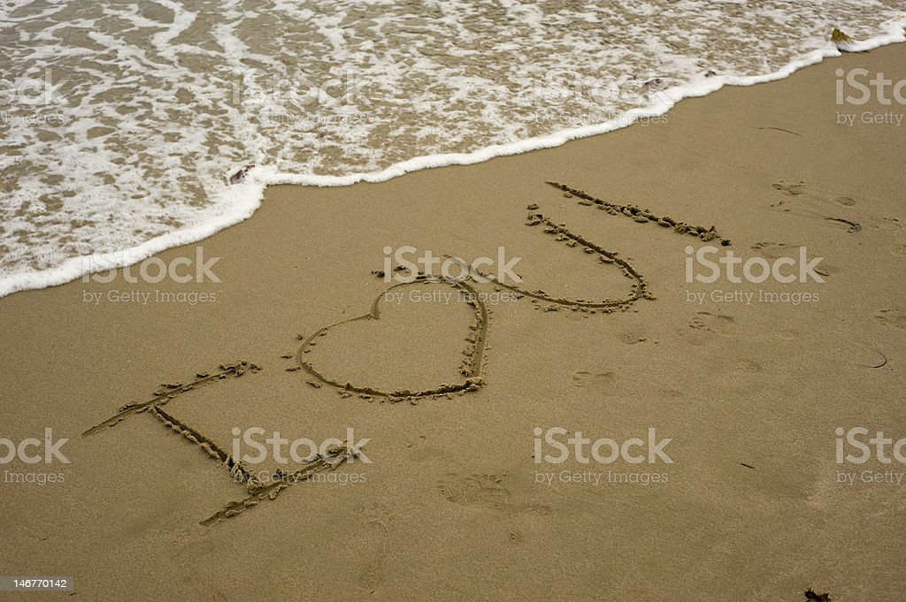 'I Love You' Message on A Beach stock photo