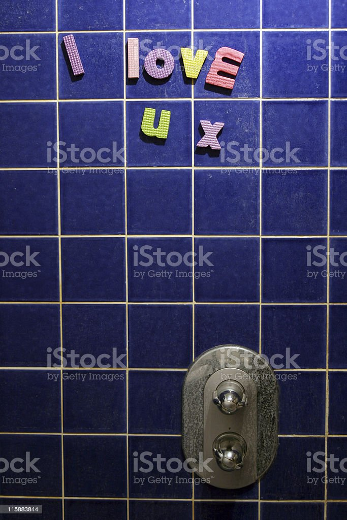 I Love You message written on shower using foam letters royalty-free stock photo