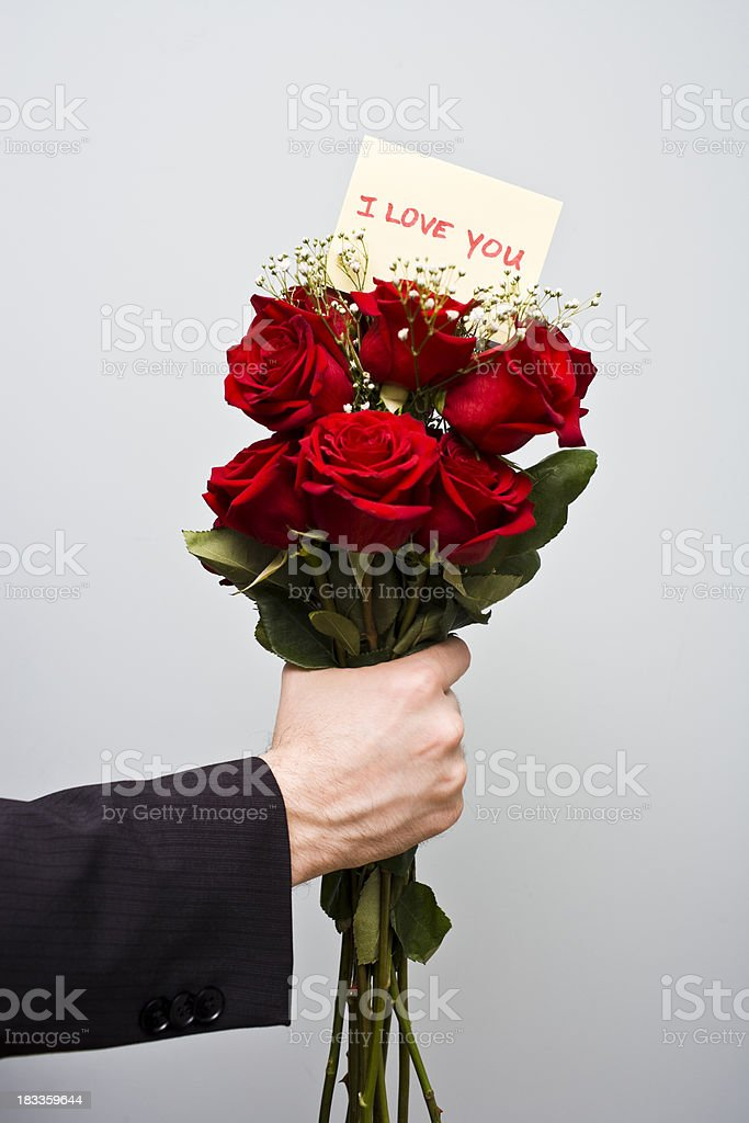 I love you note and red roses stock photo