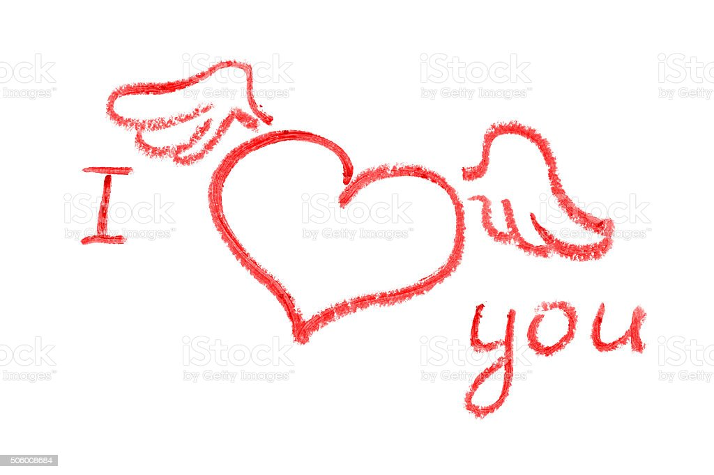 I love you (lipstick drawing) stock photo