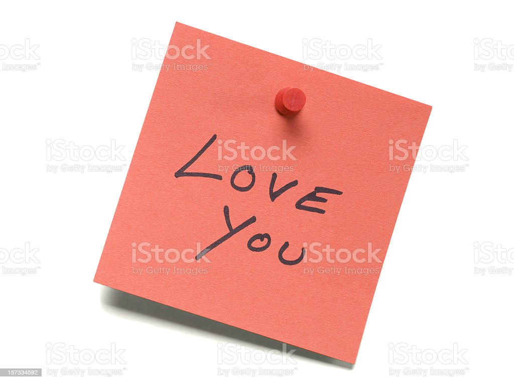 I Love You post-it note  isolated on white royalty-free stock photo