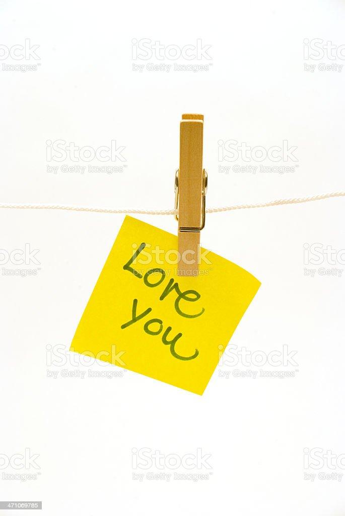 'love you ' postit, on a clothespeg royalty-free stock photo