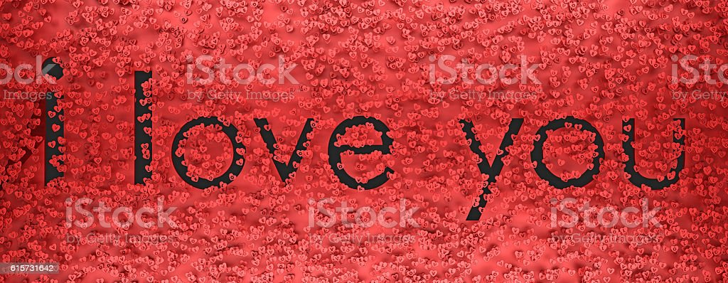 I love you text among the symbols of hearts 3d stock photo