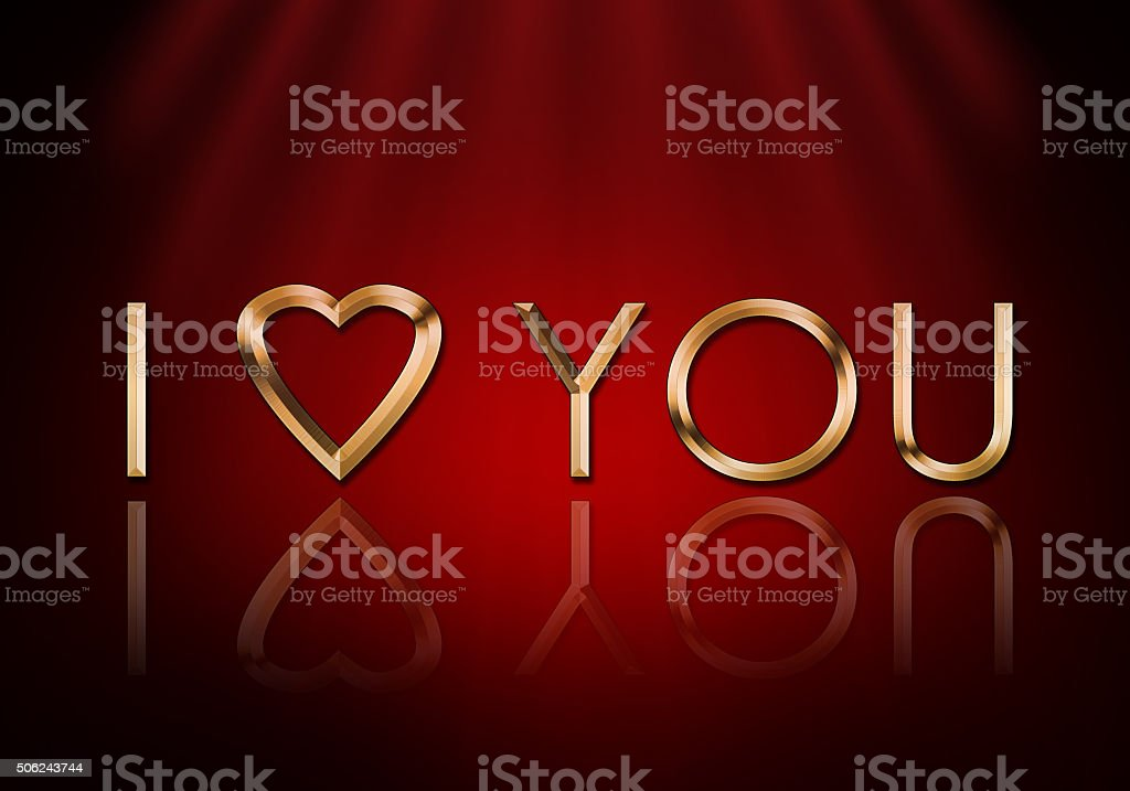 I love you text on a red background stock photo
