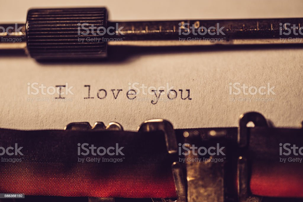 'I love you' typed using an old typewriter stock photo
