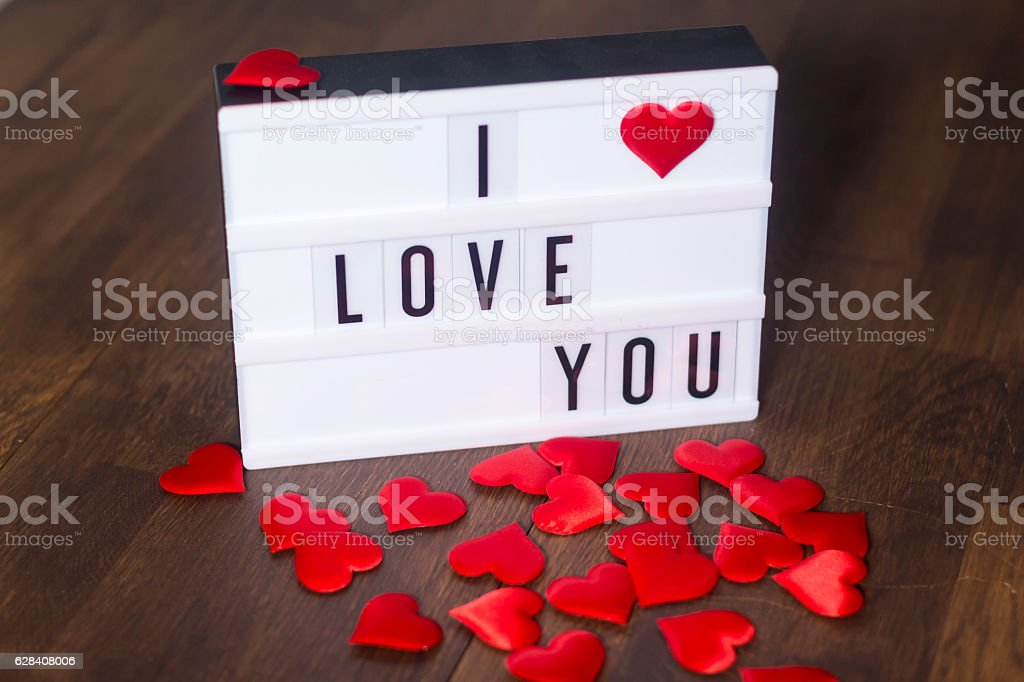 I love you with hearts stock photo