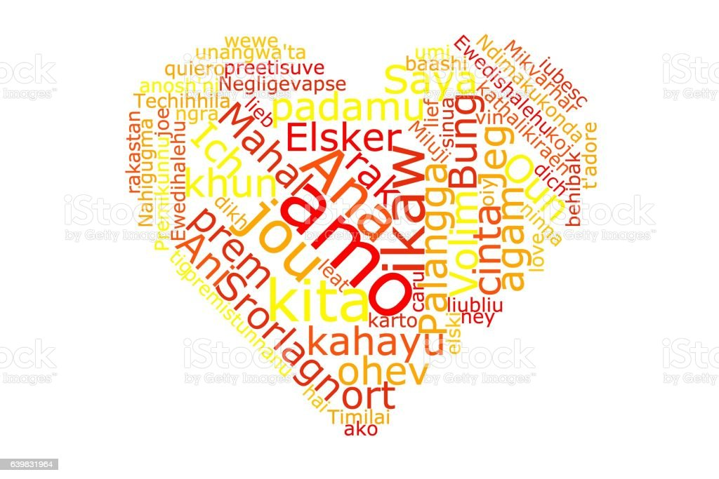 I love you word in many languages stock photo