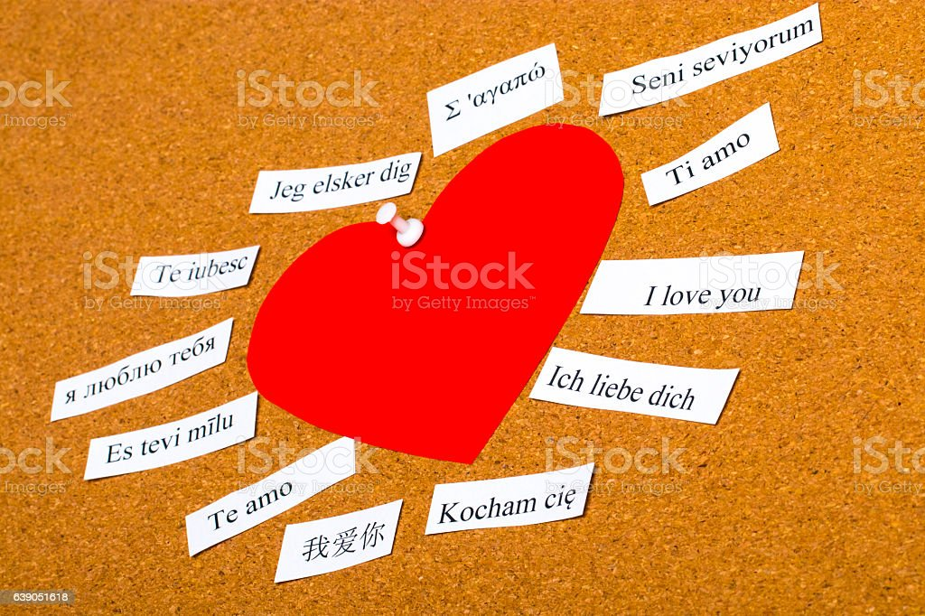I Love You. Words printed on paper in different languages stock photo