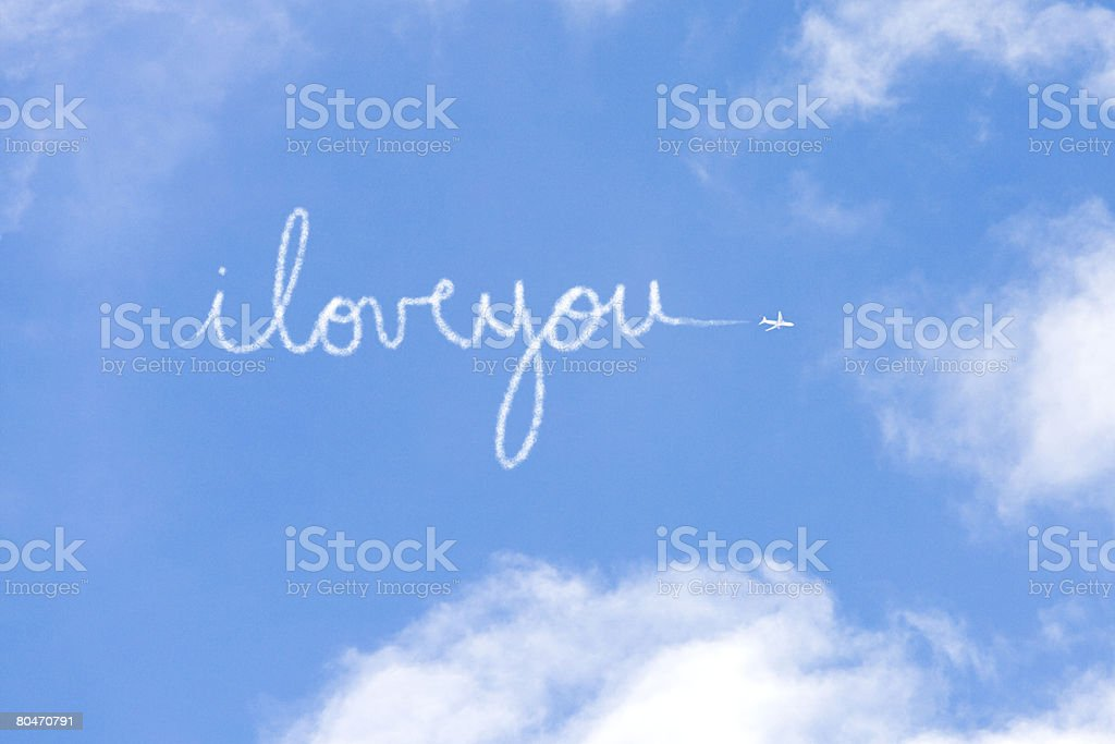 I love you written in vapour stock photo