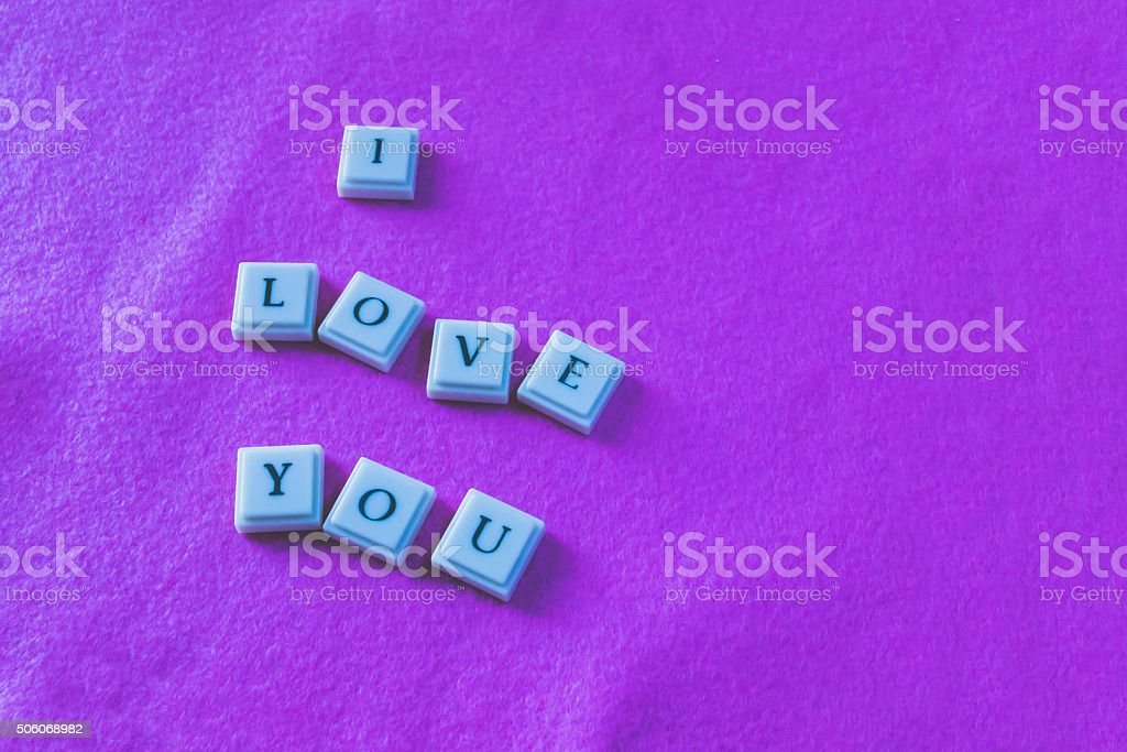 I love you-Pink background-Faded stock photo