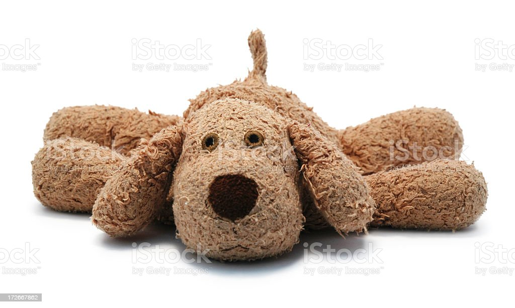 A loved child's dog stuffed animal stock photo
