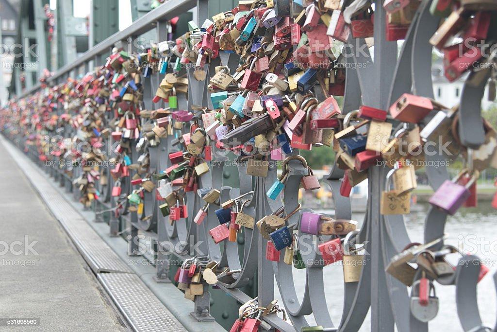 Lovelocks on the Eiserner Steg Bridge in Frankfurt, Germany stock photo