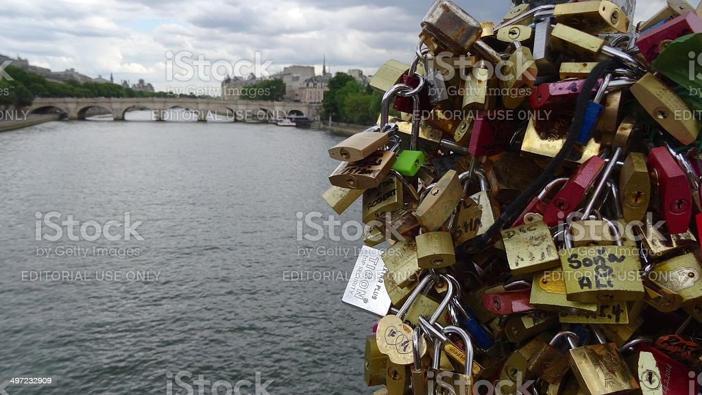 Lovelocks on the Pont des Arts, Paris royalty-free stock photo
